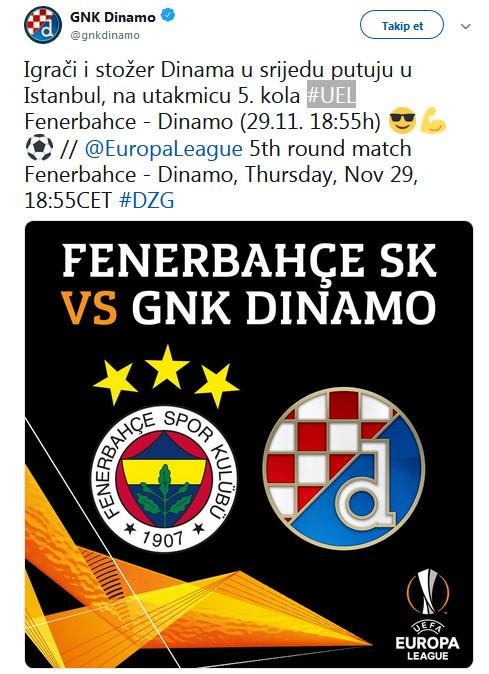 Dinamo Zagreb yarın İstanbul'da